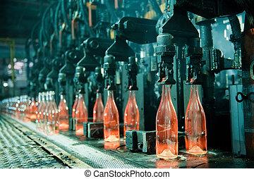 naranja caliente, botellas, fila, vidrio