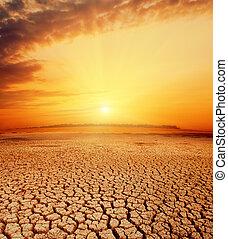 naranja, caliente, ocaso, encima, desierto