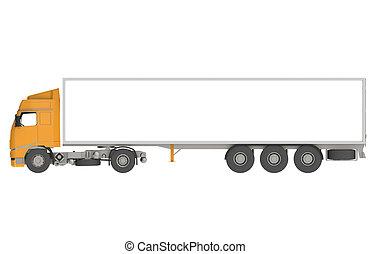 naranja, camión, comercial, aislado