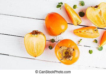 naranja, caquis, delicioso