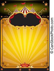 naranja, cartel, circo, magia