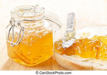 naranja, casa hacer, mermelada