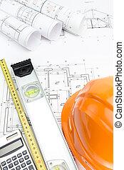 naranja, casco de seguridad, y, arrollado, proyecto, dibujos