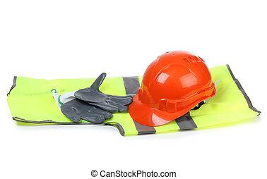 naranja, casco, guantes