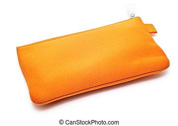 naranja, caso, aislado, lápiz