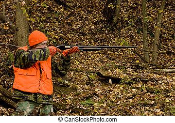naranja, cazador, seguridad