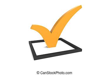 naranja, checkbox, marca de verificación