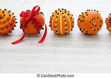 naranja, clavo, pelotas, pomander