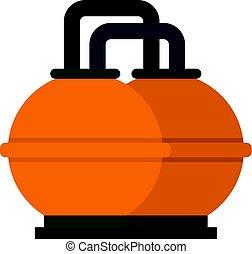naranja, combustible, tanque almacenaje, icono, aislado