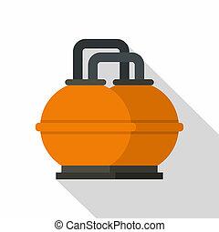 naranja, combustible, tanque almacenaje, icono, plano, estilo