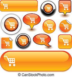 naranja, comprar, signs.