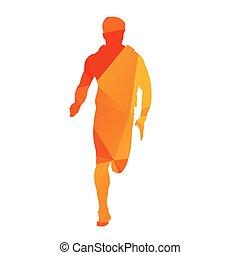 naranja, corredor, resumen, vector, geométrico