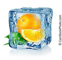 naranja, cubo, hielo