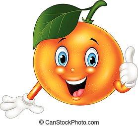 naranja, dar, pulgares, caricatura, arriba