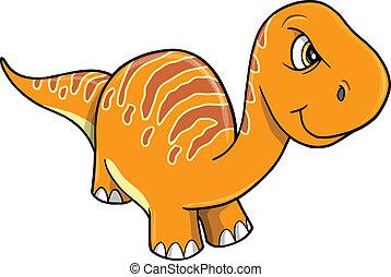 naranja, dinosaurio, enojado, vector, enojado
