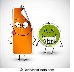naranja, divertido, pegatinas, vector, verde