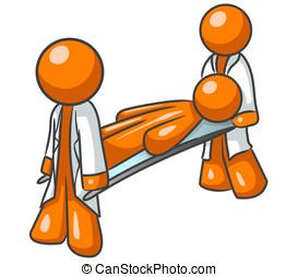 naranja, emergencia, hombre