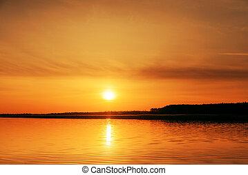naranja, encima, río, ocaso