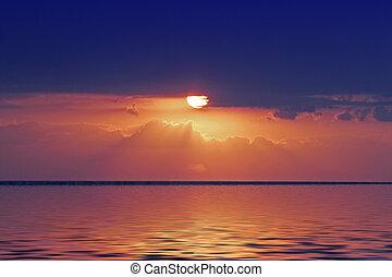 naranja, encima, salida del sol, golfo, méxico