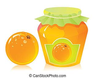 naranja, fresco, mermelada, tarro