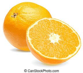 naranja, fresco, primer plano, 2, jugoso
