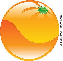 naranja, fruta, icono, clipart
