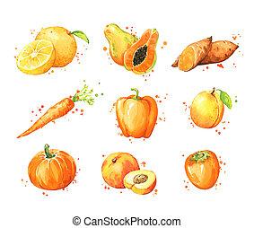 naranja, fruta, vegtables, surtido, acuarela, alimentos