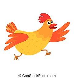 naranja, gallina, el acometer, apresuramiento, caricatura, pollo, divertido, somewhere, rojo