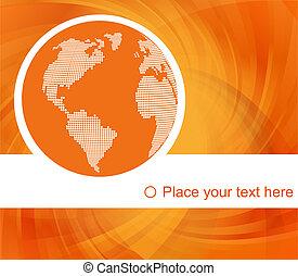 naranja, globo, concepto, vector, plano de fondo, con, mapa, para, cartel