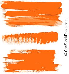 naranja, gouache, 2, golpes, cepillo