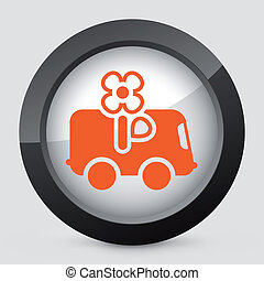 naranja, gris, icon., vector, aislado