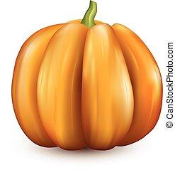 naranja, halloween, 3d, calabaza, en, white.