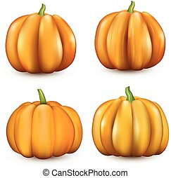 naranja, halloween, 3d, calabazas, en, white.