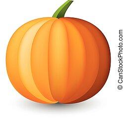 naranja, halloween, calabaza, en, white.