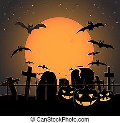 naranja, halloween, cementerio