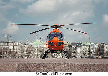naranja, helicóptero, rescate