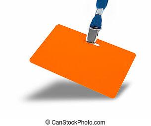 naranja, insignia, lanyard