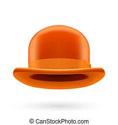 naranja, jugador de bolos sombrero