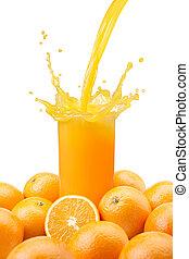 naranja, jugo que vierte