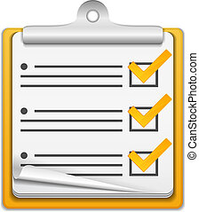 naranja, lista, cheque, icono