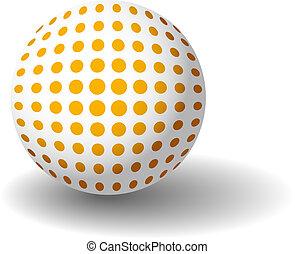 naranja, manchado, pelota