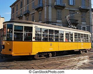 naranja, milan, viejo, tranvía