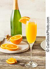 naranja, mimosa, cócteles, refrescante, casero