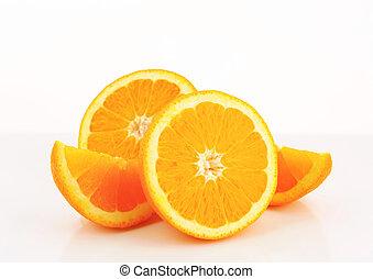 naranja, mitades, cuñas