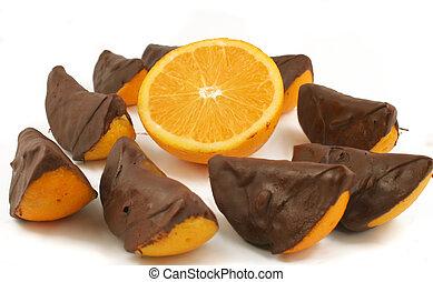 naranja, mojado, chocolate
