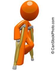 naranja, muletas, sobre, hombre móvil