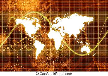 naranja, mundo, mercado de valores, economía