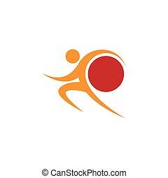 naranja, mundo, sportman