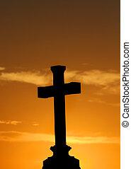 naranja, ocaso, cruz