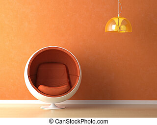 naranja, pared, diseño de interiores